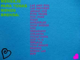 Mensaje De:Pinkstar , Jessica , Ana5790  , Luciana , Evita , Marii2278 , Bella , Sofi , Fan 1 De Bridgit , Saridirectioner , bellaforevr , ilovebelli , etc , etc(TODAS MENOS BRENDA)